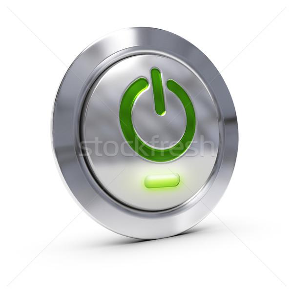 Komputera utrzymanie pc przycisk zielone Zdjęcia stock © olivier_le_moal