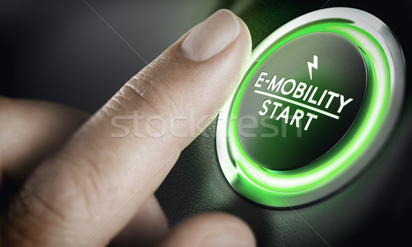 E-Mobility, Green Car Start Button Stock photo © olivier_le_moal