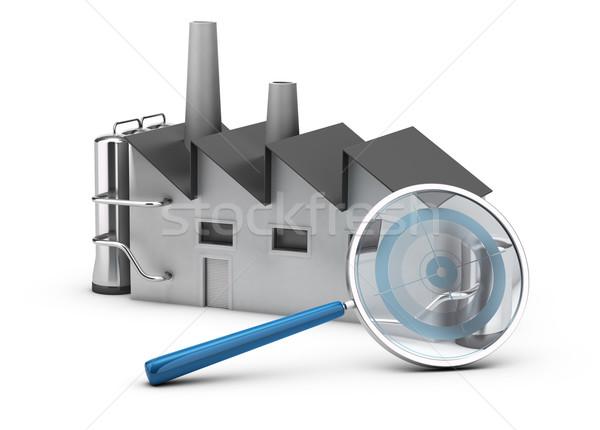 Illustration 3d render Fabrik Lupe Ziel innerhalb Stock foto © olivier_le_moal