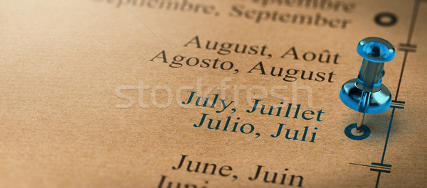 Focus on July, Months of the Year Calendar Stock photo © olivier_le_moal
