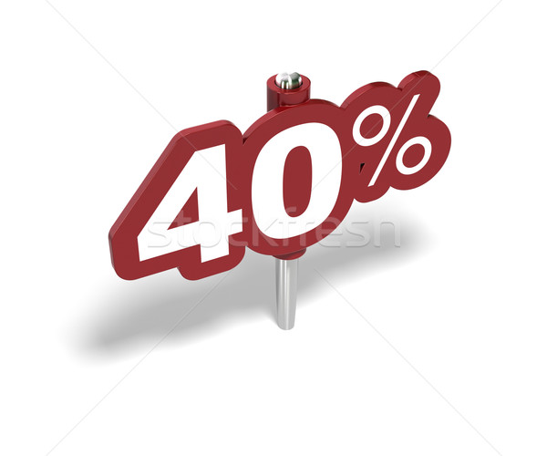 Yüzde imzalamak 40 yüzde kırmızı beyaz Stok fotoğraf © olivier_le_moal