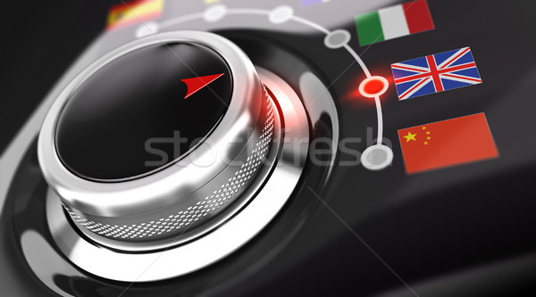 Anglais traduction langue bouton drapeaux rendu 3d Photo stock © olivier_le_moal
