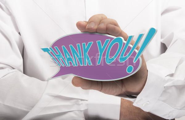 Köszönet kép férfi kéz tart szöveglufi Stock fotó © olivier_le_moal