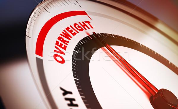 избыточный вес весы иглы указывая слово 3d визуализации Сток-фото © olivier_le_moal
