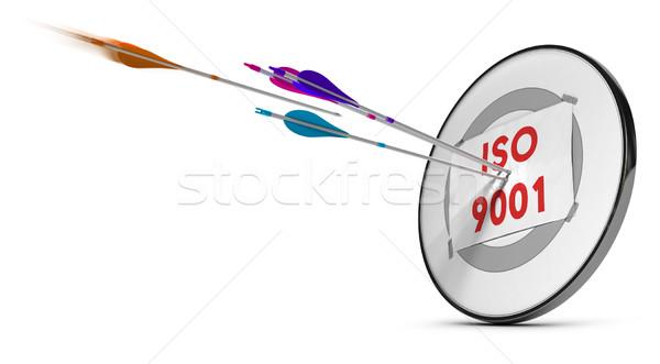 Iso een target drie pijlen tekst Stockfoto © olivier_le_moal