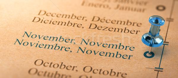 Fókusz hónapok év naptár 3d illusztráció projekt Stock fotó © olivier_le_moal
