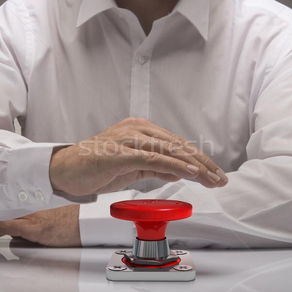 Vészhelyzet stop gomb kéz toló fehér Stock fotó © olivier_le_moal