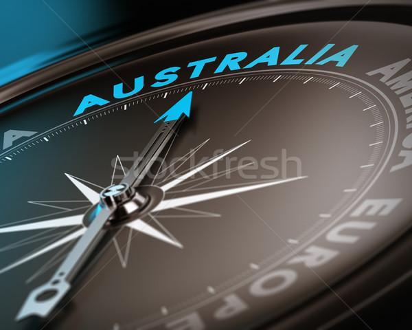 Австралия аннотация компас иглы указывая Сток-фото © olivier_le_moal