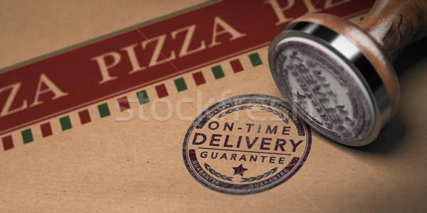 Pizza idő házhozszállítás pecsét karton doboz Stock fotó © olivier_le_moal