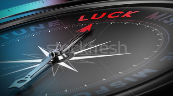 Szerencsés iránytű tű mutat szó szerencse Stock fotó © olivier_le_moal