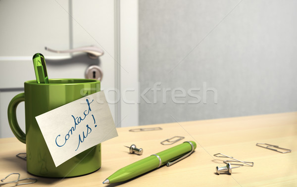 client office with contact us note onto a mug Stock photo © olivier_le_moal