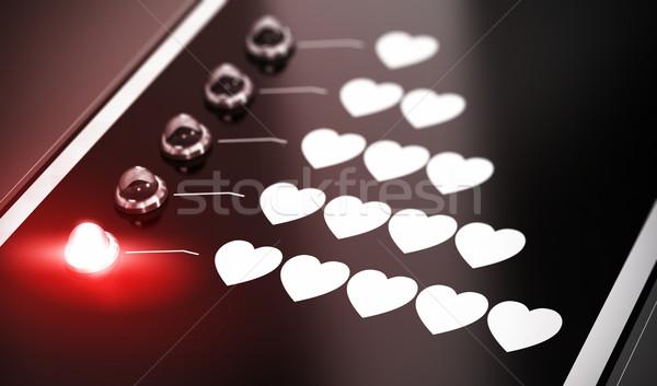 Szeretet illusztráció fekete piros lámpa homály hatás Stock fotó © olivier_le_moal