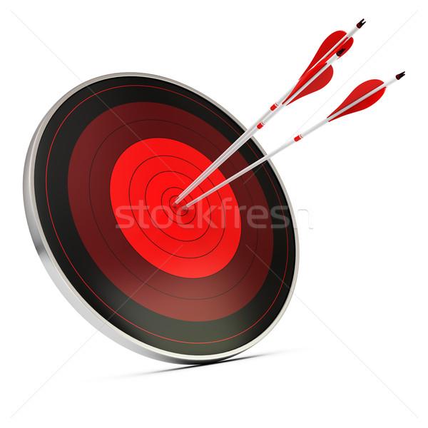 Foto stock: Objetivo · alcançado · meta · realização · três · vermelho