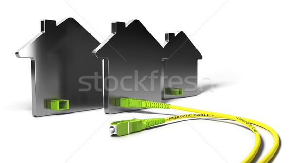 Vezel home 3d illustration netwerk hoog breedband Stockfoto © olivier_le_moal