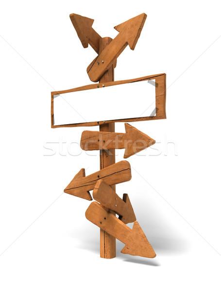 Kiezen richting pijlen houten post witte Stockfoto © olivier_le_moal
