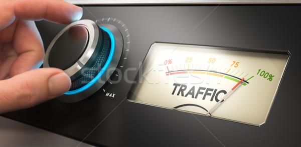 Daha fazla web sitesi trafik el yukarı Stok fotoğraf © olivier_le_moal