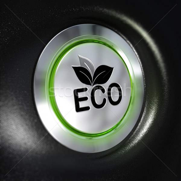 Photo stock: Eco · bouton · énergie · métallique
