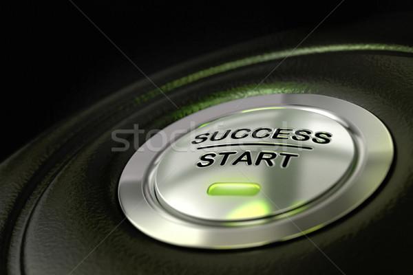 Exitoso la toma de decisiones resumen éxito inicio botón Foto stock © olivier_le_moal