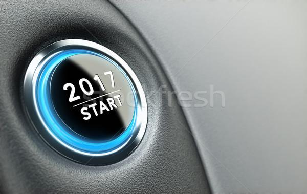 Rok przycisk nowy rok dwa tysiąc Zdjęcia stock © olivier_le_moal