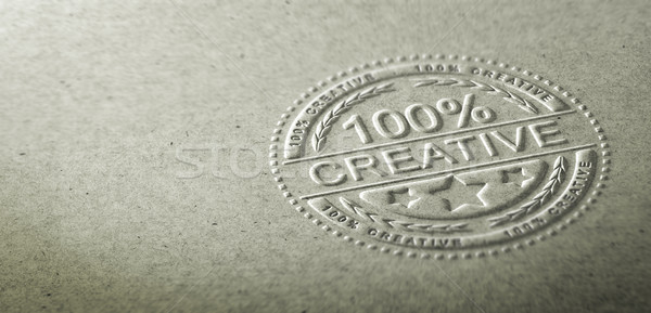 3D illustration of an embossed stamp with the text 100 percent creative. Background for communicatio Stock photo © olivier_le_moal