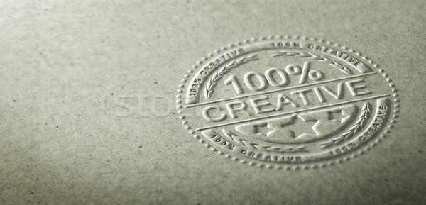 3d ilustracji pieczęć tekst 100 procent twórczej Zdjęcia stock © olivier_le_moal