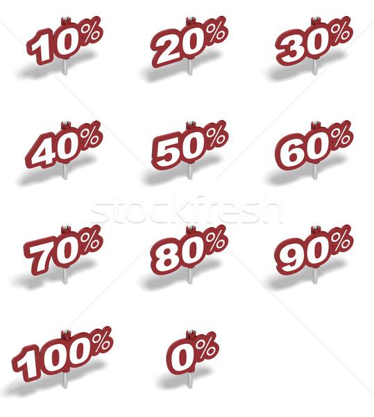 Set percentuale segni cento rosso Foto d'archivio © olivier_le_moal
