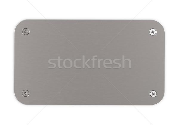brushed aluminium plaque Stock photo © olivier_le_moal