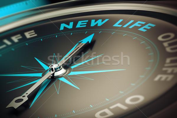 Changement boussole aiguille pointant mot Photo stock © olivier_le_moal