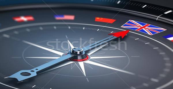 Fókusz Anglia 3d illusztráció iránytű sok zászlók Stock fotó © olivier_le_moal