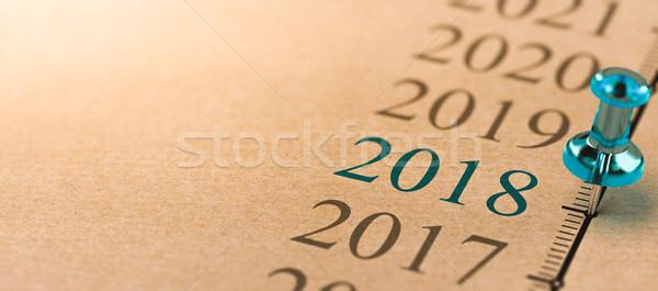 Rok dwa tysiąc osiemnastu timeline 3d ilustracji Zdjęcia stock © olivier_le_moal