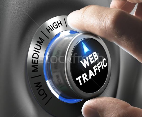 Site trafic web bouton pointant élevé Photo stock © olivier_le_moal