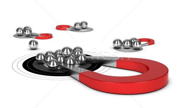 Mágnes patkó fém golyók cél 3D Stock fotó © olivier_le_moal
