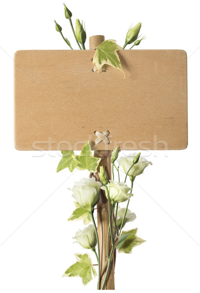 Blank Wooden Sign with Green Roses Flowers Stock photo © olivier_le_moal