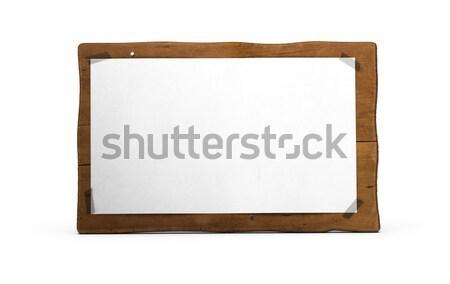 Környezetbarát felirat hirdetés fa tábla üres papír fix Stock fotó © olivier_le_moal