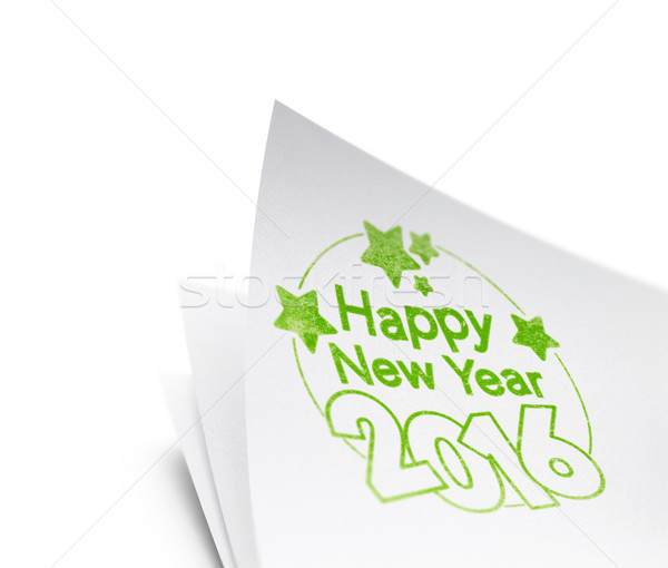 Boldog új évet 2016 pecsét szöveg nyomtatott papír Stock fotó © olivier_le_moal