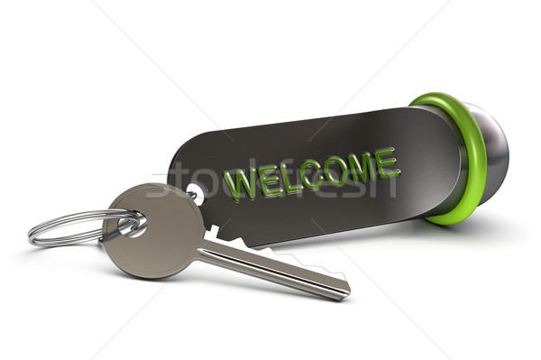 welcome in our hotel, key and keyring Stock photo © olivier_le_moal