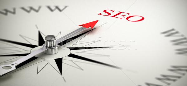 Seo keresőoptimalizálás iránytű tű mutat szó Stock fotó © olivier_le_moal