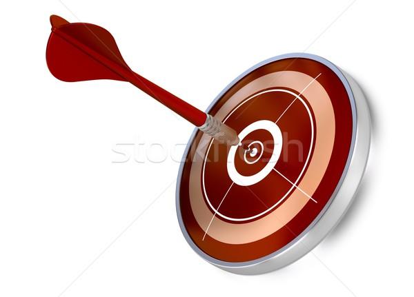 Tökéletes lövés piros darts központ cél Stock fotó © olivier_le_moal