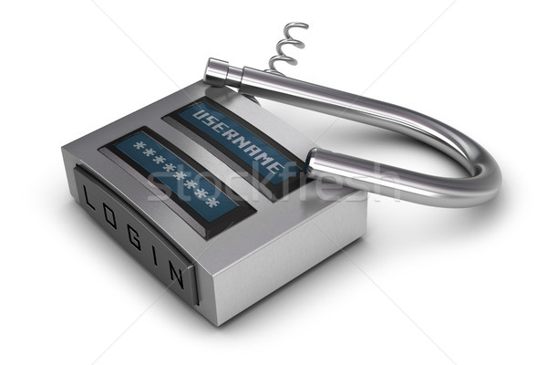 hacked padlock Stock photo © olivier_le_moal