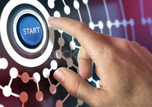 Business network jeden palec początku przycisk Zdjęcia stock © olivier_le_moal