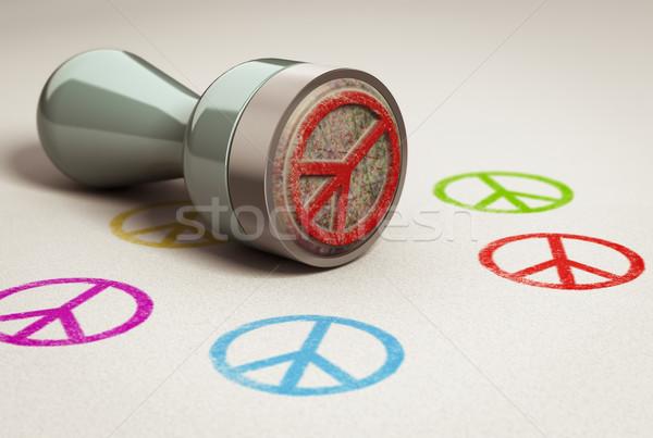 Stockfoto: Vrede · liefde · papier · symbool · afgedrukt