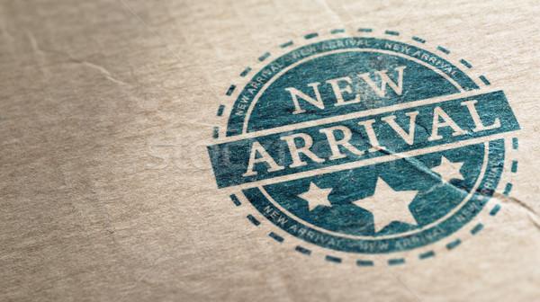 Nieuwe aankomst stempel karton horizontaal afbeelding Stockfoto © olivier_le_moal