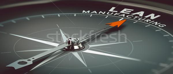 Fabrico ilustração 3d bússola agulha indicação texto Foto stock © olivier_le_moal
