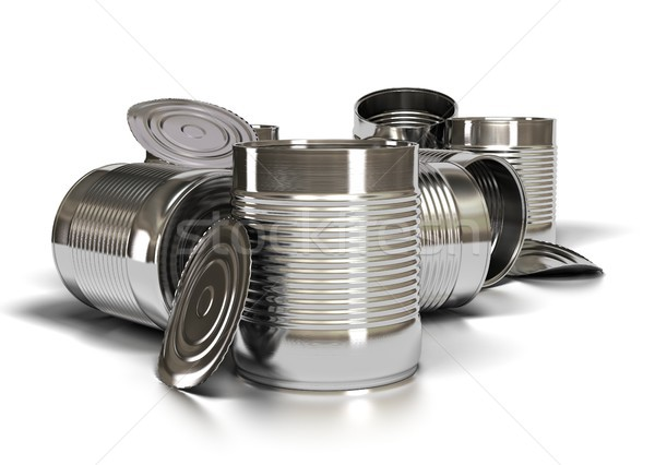 many used tins over white Stock photo © olivier_le_moal