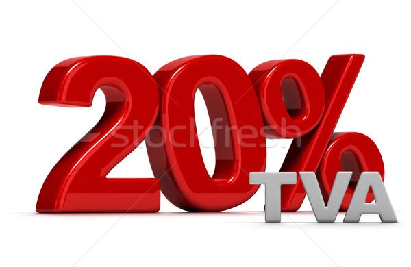 20 százalék piros szám írott 3D Stock fotó © olivier_le_moal