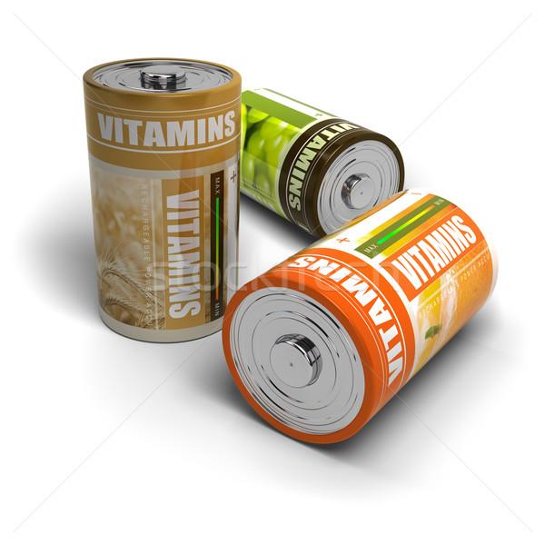 Stok fotoğraf: Vitaminler · enerji · yalıtılmış · beyaz · meyve