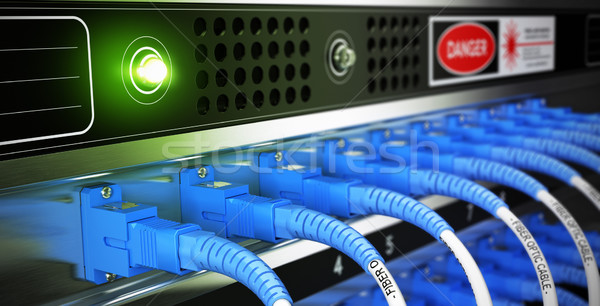 Hálózat felszerlés közelkép optikai rost optikai Stock fotó © olivier_le_moal