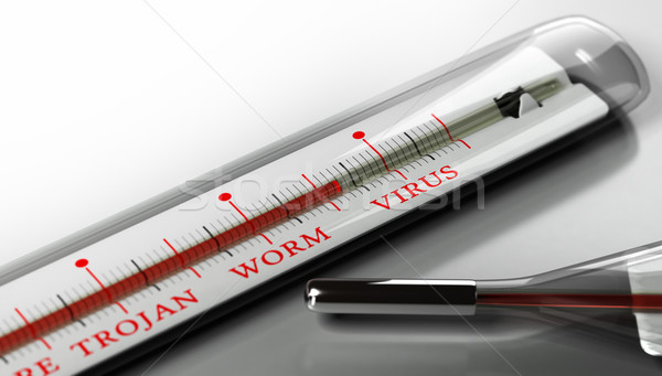Infecté virus informatique alerter thermomètre texte virus Photo stock © olivier_le_moal
