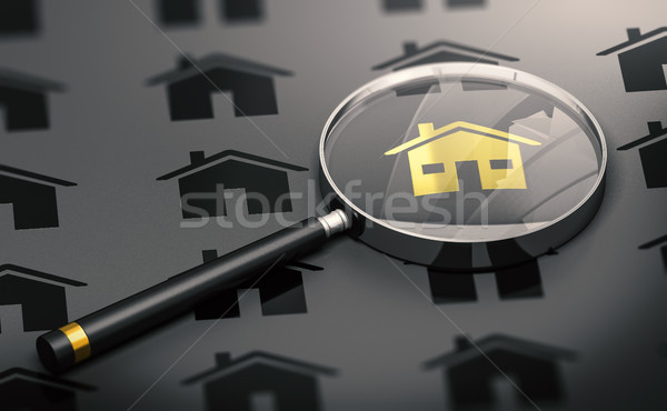 Real Estate Concept, Property Search and One Golden Unique House Stock photo © olivier_le_moal