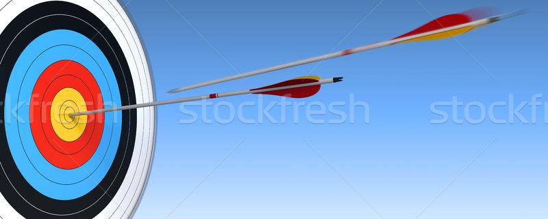 Okçuluk hedef ok mavi gökyüzü bir eylem Stok fotoğraf © olivier_le_moal